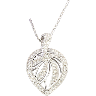 14K White Gold Diamond Leaf Pendant Necklace with 63 Diamonds