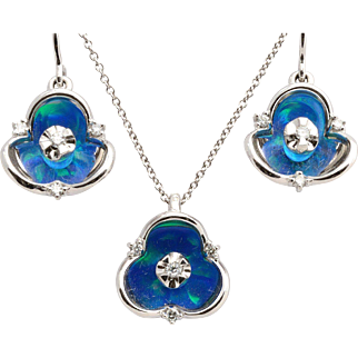 14K White Gold with Blue Lab Created Opal and Diamond Necklace Earring Set