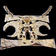 Vintage 60s 70s Kenneth Lane Tribal Large Pendant Gold Tone Necklace KJL Jay