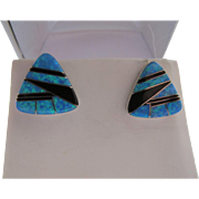 Vintage Sterling Silver Opal Onyx Inlay Post Earrings Triangle Shape