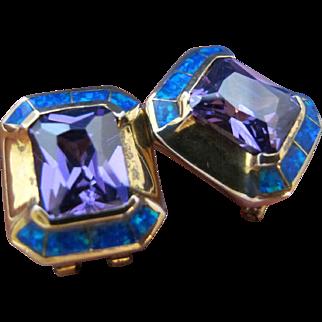 Vintage 925 Sterling Silver Gold Tone Earrings Amethyst Purple Glass Opal Square shaped