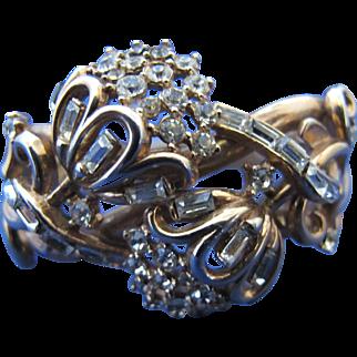 Vintage Trifari Pat Pend Rhinestone Clamper Camellia Flower Bracelet Alfred Philippe Design Patent Pending 40s