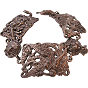 Vintage 800 Ornate Silver Bracelet Made in Italy Gothic Goth Dragon Cat Lion or Tiger and Magical Lady Face  Hallmarked