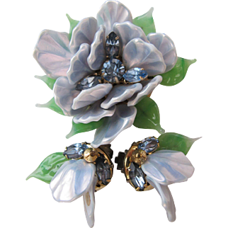 Vintage Signed Regency Glass Petal Leaf Dimensional Flower Pin Earrings Rhinestone Set Demi Parure Something Blue Bridal Pale Blue Iridescent