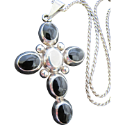 Vintage Mexico Large Sterling Silver Onyx Cross Pendant on Sterling Silver Chain Necklace Soutwestern Santa Fe Style