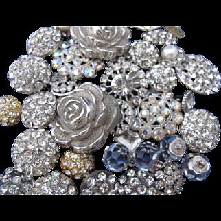 Vintage Rhinestone Button Collection Flower
