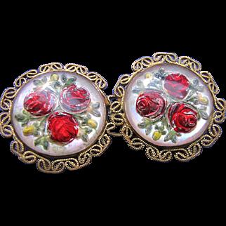 Vintage Czech Art Glass Red Rose Belt Buckle Made in Czechoslovakia