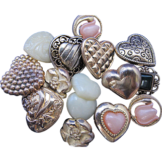 Vintage Plastic Hearts and Flowers Button Collection