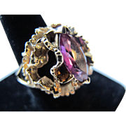 Vintage 14K Gold Lab Alexandrite Ring - Color Changing Purple / Red Hints of Grey - Large Cocktail Bling Dome 8.8 grams 6.5 6 1/2