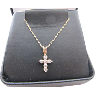 Vintage 10K CZ Cross Charm Pendant on 14K Gold Chain Necklace