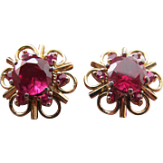 Vintage Lab Ruby Sterling Silver Pierced Post Earrings with 925 Gold Tone Flower Jacket