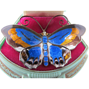 Vintage Norway Sterling Silver David Andersen Large Butterfly Pin 2 3/8 inches Multi color Mid Century Modern Enamel