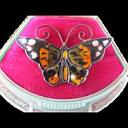 Vintage Norway Sterling Silver David Andersen Butterfly Pin Multi color Mid Century Modern Enamel