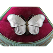Gorgeous Vintage Ivar Holt Sterling Silver Enamel Butterfly Pin Brooch White