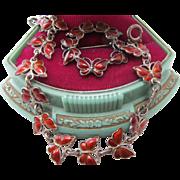 Exquisite Vintage Volmer Bahner Denmark Norway Sterling Silver Ruby Red Enamel Butterfly Bracelet Pin Set Mid Century Modern