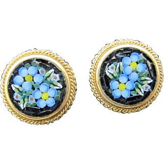 Vintage Micro Mosaic Forget Me Not Clip Earrings
