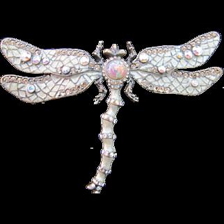 Vintage Large Joan Rivers Dragonfly Pin Rhinestone Enamel Brooch