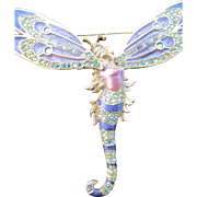 Extraordinary and Rare Vintage Kirks Folly Dragonfly or Butterfly Lady Pin Rhinestone Enamel Brooch