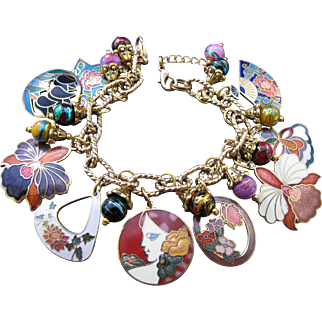 Vintage Brightly Colored Enamel Flower Charm Bracelet