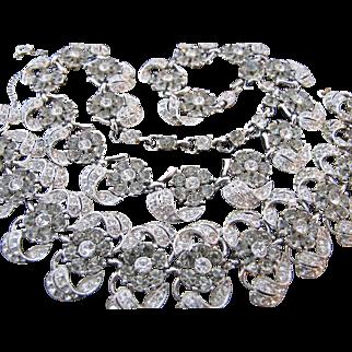 Extraordinary Vintage Bogoff Flower Necklace Bracelet Set - Hundreds of Rhinestones ! Grey Smoke and Clear Demi Parure