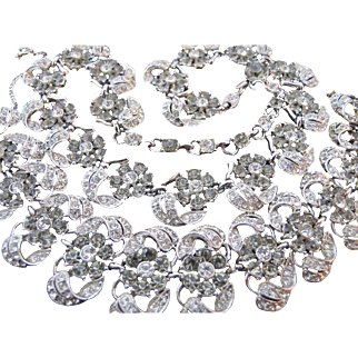 Extraordinary Vintage Bogoff Flower Necklace Bracelet Set - Hundreds of Rhinestones ! Grey Smoke and Clear Demi Parure