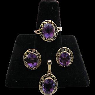 Vintage 14K Gold Amethyst Greek Key Ring Earrings Pendant Necklace Set