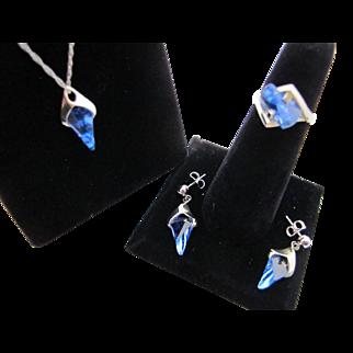 Vintage 14K White Gold Blue Topaz Lighthouse Lens Cut Strell Strellmans Ring Pendant Necklace Earrings Set