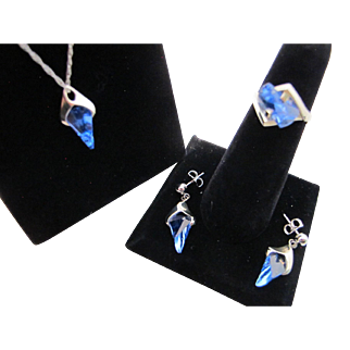 Vintage 14K White Gold Blue Topaz Lighthouse Lens Cut Strell Strellmans Ring Pendant Necklace Earrings Set