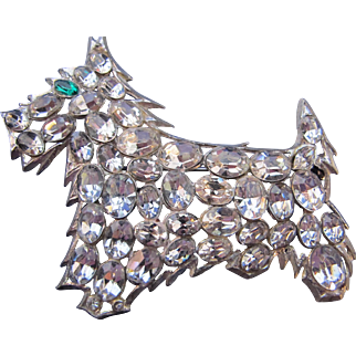 Vintage Rhinestone Schnauzer or Terrier Dog Pin Unsigned 30 Open Backed Foiled Stones