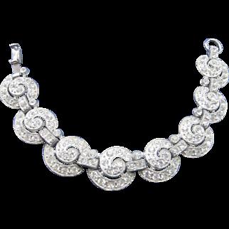 Vintage Art Deco Rhinestone Bracelet Iconic Circles