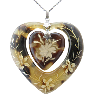 Vintage Lucite Faux Tortoise Shell Heart Pendant Necklace on Sterling Silver Chain