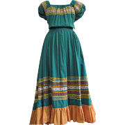 Vintage Western Tribal Ethnic Boho Dress Square or Folk Dance Long Ruffle Fancy Trim Cotton Donnell's of Denver Cotton