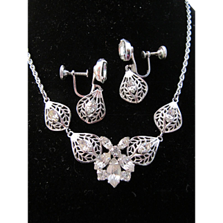 Vintage Jay Flex Jayflex Sterling Silver Clear Rhinestone Filigree Necklace Earrings Set - Gorgeous Bridal Demi Parure !