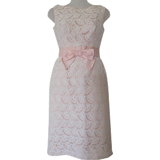 Vintage Early 60s Pink Lace Cutout Classic Sleeveless Dress with Accent Bow