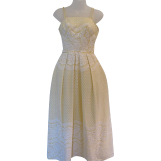Vintage 70s Long Lace Cutout over Pale Lemon Yellow Dress - for a Yellow Rose of Texas !