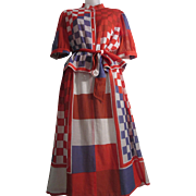 So Fun Vintage Patriotic Red White and Blue Pattern Print 2 Piece Dress Skirt Blouse with Tie Belt