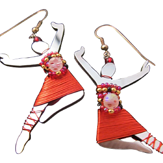 Vintage Liztech Dancer Ballerina Earrings Mirror Wired Modern Jazz