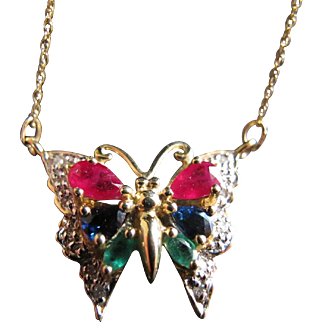 Exquisitely Beautiful 10K Gold Butterfly Pendant Necklace with Sapphire Diamond Ruby and Emerald Mogul Style