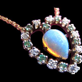 Vintage Opal Diamond Emerald Valentine's ! Heart Necklace in 14K Gold
