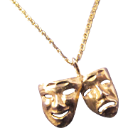 Vintage 14K Gold Theatrical Comedy Tragedy Charm on 18 1/2 inch 14K Gold Chain Necklace