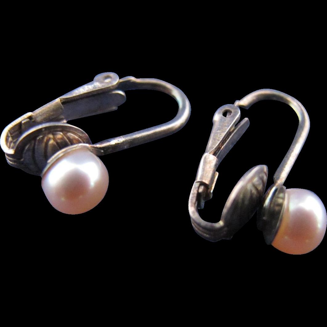 Vintage Sterling Silver Iridescent Pearl Clip Back Earrings Kays Mermaid Treasure Jewels