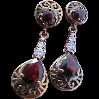 Vintage 925 Sterling Garnet CZ Long Dangle Earrings