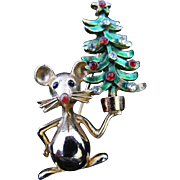 Vintage Mylu Mouse with Christmas Tree Rhinestone Pin