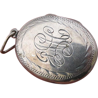 Vintage Etched Initial Sterling Silver Locket Pendant for Necklace