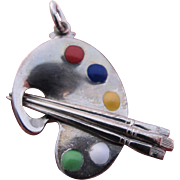 Vintage Sterling Silver Charm or Necklace Pendant Artist Palette with Enamel Paint Colors!