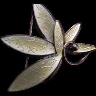 Vintage Mid Century Modern Norway Sterling Silver Enamel Leaf Pin A.Sch Scandinavian Design