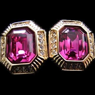Vintage Swarovski Crystal Rhinestone Pierced Earrings Ruby Pink