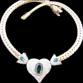 Vintage Heart Rhinestone Collar / Choker Necklace