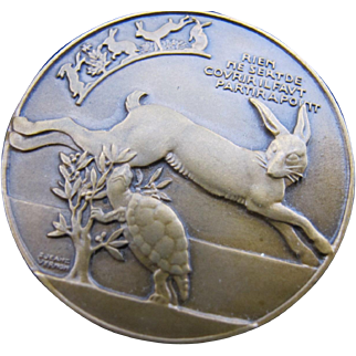 Vintage French Medal Rabbit Tortoise and Hare Jean Vernon Fairy Tale Memento in Original Box