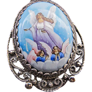 Vintage Sterling Enamel Angels Playing in the Clouds Pendant Necklace on Sterling Silver Chain